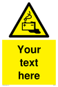 Custom Battery Charging Sign. Add your own custom text. Normal delivery times apply. Yellow Battery Charging Symbol. This symbol and sign layout complies with new EN7010 legislation that governs safety signs. Text: Your text here - just add to your order and fill in the 'special instructions' box at the basket to confirm your required text.