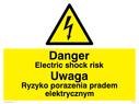 Electrical symbol in warning triangle Text: Danger electric shock risk Ryzyko porazenia pradem elektrycznym