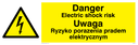 Electrical symbol in warning triangle Text: Danger electric shock risk Ryzyko porazenia pradem elektrycznym