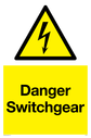 Electrical symbol in warning triangle Text: Danger Switchgear