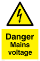 <p>Danger mains voltage with electrical symbol in warning triangle</p> Text: Danger Mains voltage