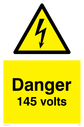 electrical symbol in warning triangle Text: Danger 145 volts