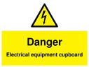 <p>Danger Electrical equipment cupboard</p> Text: Danger Electrical equipment cupboard with electrical hazard warning symbol