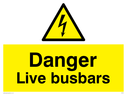 Danger sign with electrical warning triangle Text: Danger live busbars