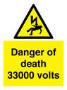 <p>Danger of death 33000 volts</p> Text: