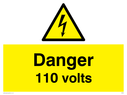 electrical warning triangle Text: danger 110 volts