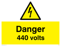 <p>danger 440 volts with electrical warning triangle</p> Text: danger 440 volts