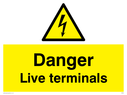 electrical warning triangle Text: danger live terminals