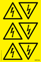 <p>Sheet of Electrical Warning triangle stickers</p> Text: