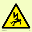 electrical hazard warning triangle Text: None