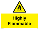 flammable warning symbol in warning triangle Text: Highly flammable
