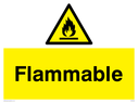 Flammable warning symbol Text: Flammable