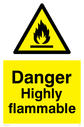 Flammable in warning symbol Text: Danger Highly flammable