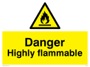 Flammable in warning symbol Text: Danger Highly flamable