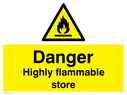 flammable symbol in warning triangle Text: Danger Highly flammable store