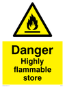 flammable symbol in warning triangle Text: Danger Highly flamable store