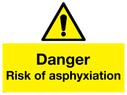 <p>Danger risk of asphyxiation withwarning triangle</p> Text: Danger risk of asphyxiation