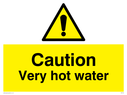 Hot Water safety warning sign with exclamation in warning triangle Text: caution very hot water