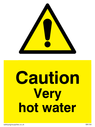 <p>Hot Water safety warning sign with exclamation in warning triangle</p> Text: caution very hot water