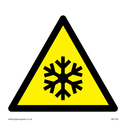 snowflake in warning triangle Text: none