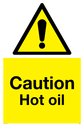 <p>Caution Hot oil Warning Sign</p><p>with General warning symbol</p> Text: Caution Hot oil