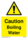 <p>Boiling Water safety warning sign with exclamation in warning triangle</p> Text: Caution Boiling Water