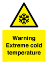 <p>Warning Extreme cold temperature</p> Text: