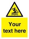 <p>Custom Warning surf craft area</p> Text: