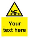 <p>Custom Warning swimming area</p> Text: