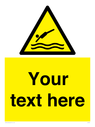 <p>Custom Warning diving area</p> Text: