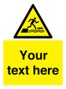 <p>Custom Warning falling into water when stepping on or off a floating surface</p> Text: