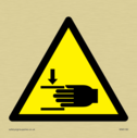 hand injury in warning triangle Text: None