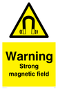magnetic field symbol in warning triangle Text: Caution Strong magnetic field