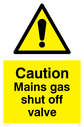 general warning symbol in warning triangle Text: Caution Mains gas shut off valve