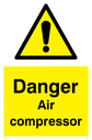 general warning symbol in warning triangle Text: Danger Air compressor