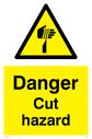 sharp element warning symbol in warning triangle Text: Danger Cut hazard