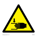 Crushed hand in warning triangle Text: None
