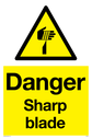 sharp warning symbol in warning triangle Text: Danger Sharp blade