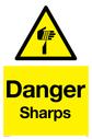 sharp warning symbol in warning triangle Text: Danger Sharps