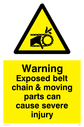 moving machinery symbol in warning triangle Text: Warning Exposed belt chain & moving parts can cause severe injury
