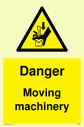 <p>Danger moving machinery with finger crush warning symbol</p> Text: Danger moving machinery