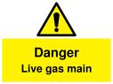 <p>Danger Live gas main withhazard warning symbol</p> Text: Danger Live gas main