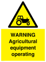 <p>WARNING Agricultural equipment operating</p> Text: