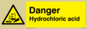 acid burning in warning triangle Text: hydrochloric acid