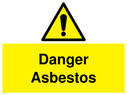 <p>exclamation in warning triangle</p> Text: danger asbestos