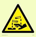 acid burning symbol in warning triangle Text: None