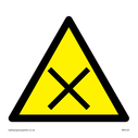 cross in warning triangle Text: None