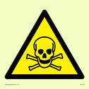 skull in warning triangle Text: None