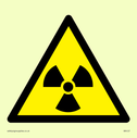 radiation symbol in warning triangle Text: None