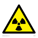 <p>radiation symbol in warning triangle</p> Text: None